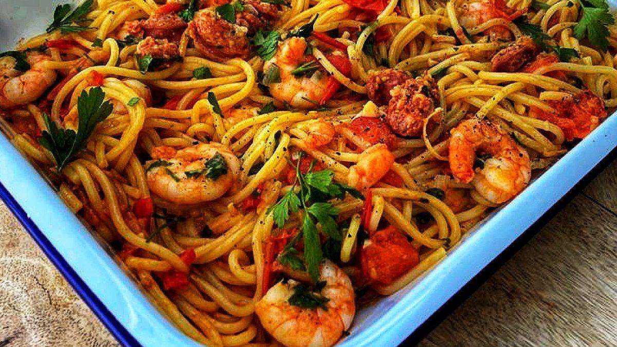 King Prawn & Chorizo Spaghetti